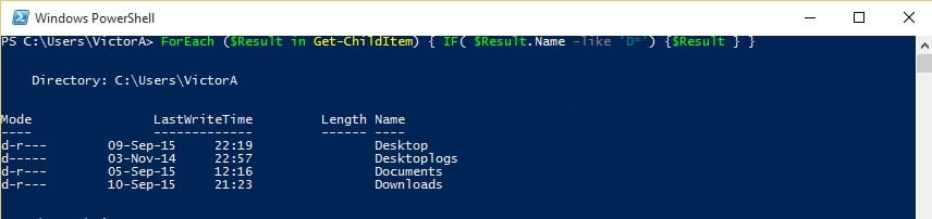 PowerShell-ForEach-Get-ChildItem-If-result-direct