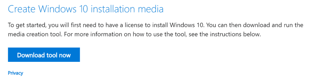 how to install windows 10 Click Download tool now link to download MediaCreationTool1809.exe - save it to your computer