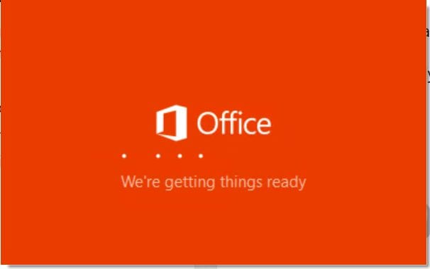 Finally, office 365 (includes outlook 365) installation begins!