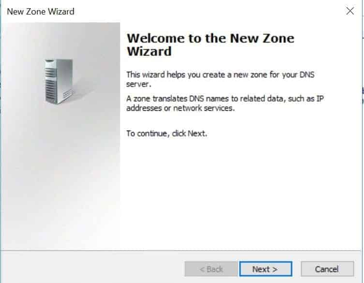 Configure DNS For Active Directory Domain Services - New Zone welcome screen