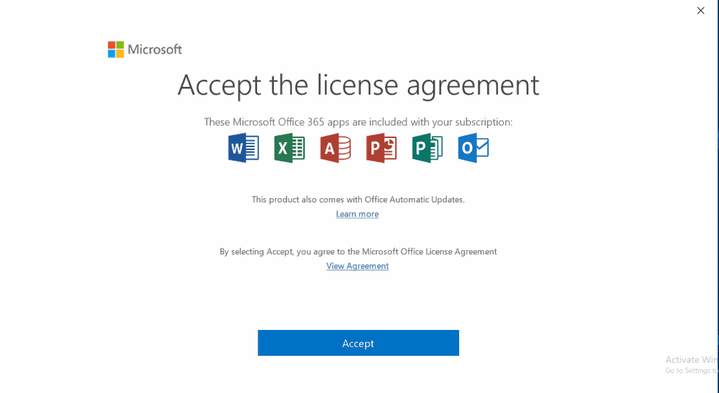 Set up outlook (accept license agreement)