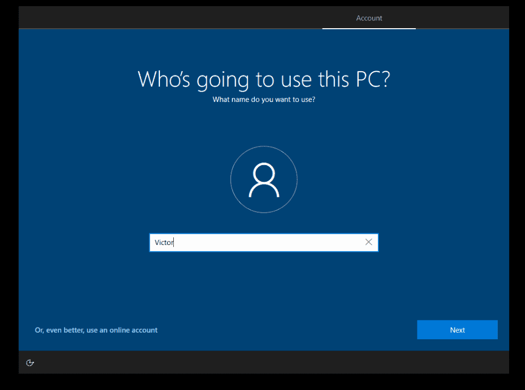 how to Install Windows 10 - add a user