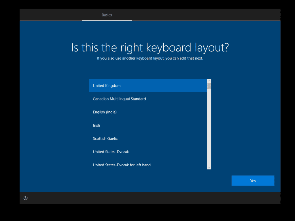 how to Install Windows 10 - confirm keyboard layout
