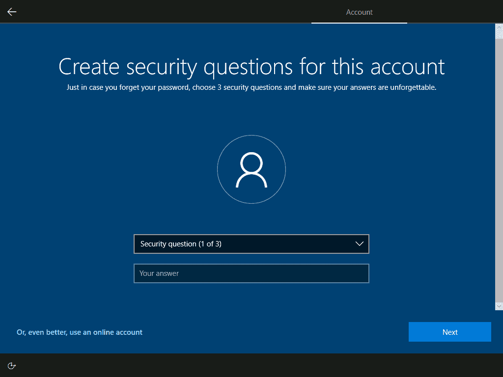 create security questions and answers for the user account