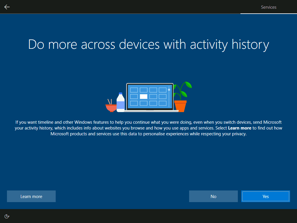 how to Install Windows 10 - configure across device activity history