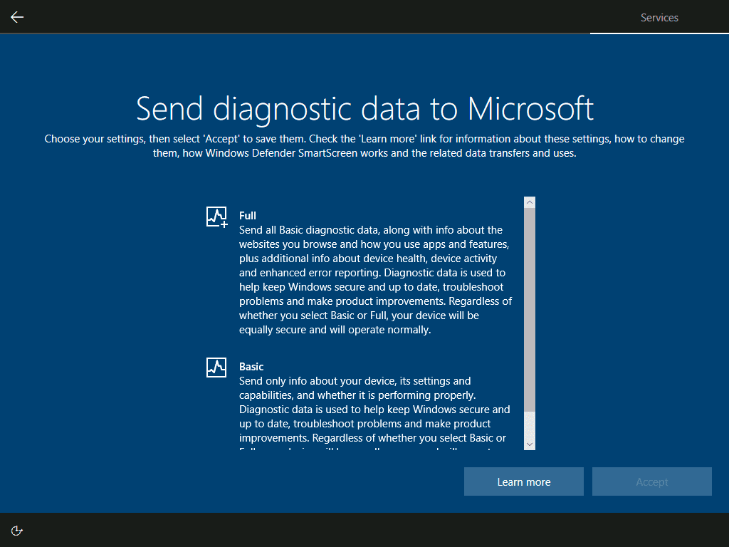 how to Install Windows 10 - send diagnostic information or not