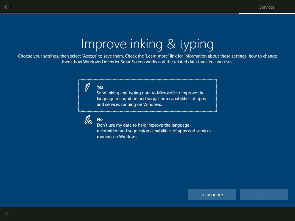 send inking and typing information to Microsoft or not