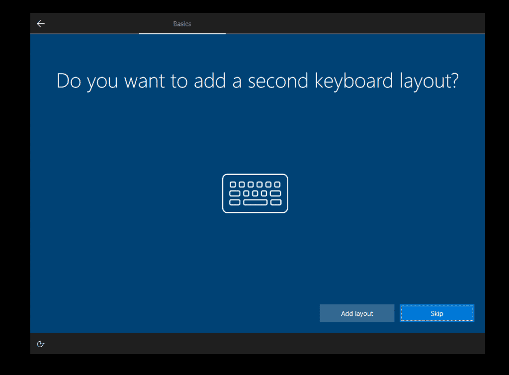 how to Install Windows 10 - skip adding additional keyboards