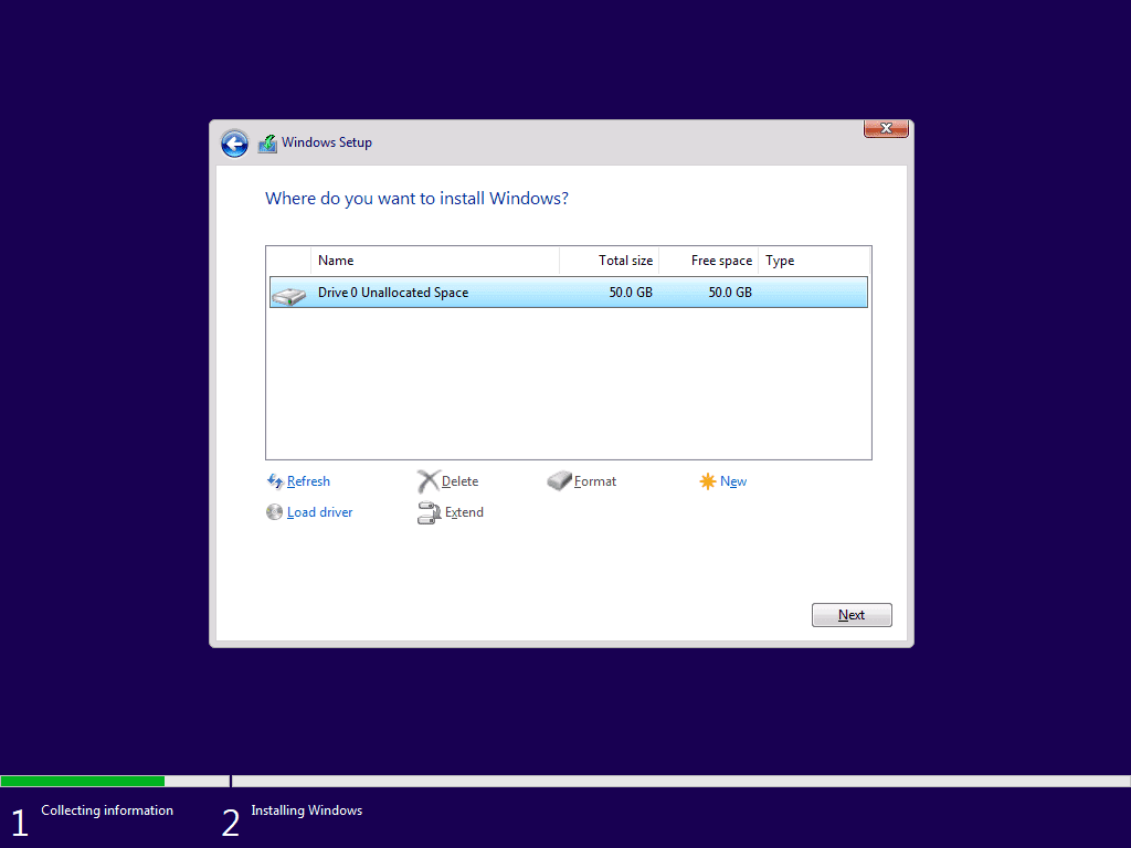 how to Install Windows 10 - select the HDD you wish to install in and click next