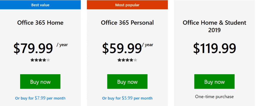 "office 365 (outlook 365) subscription page. if you want monthly subscription, click on ""or buy per month)"