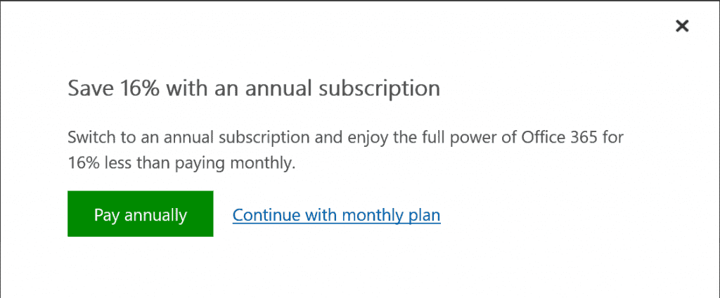 office 365 (outlook 365) subscription page - dialogue box to confirm annual or monthly plan