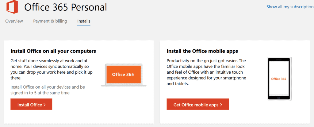 Your account - installs tab - install office apps including Android and iOS apps
