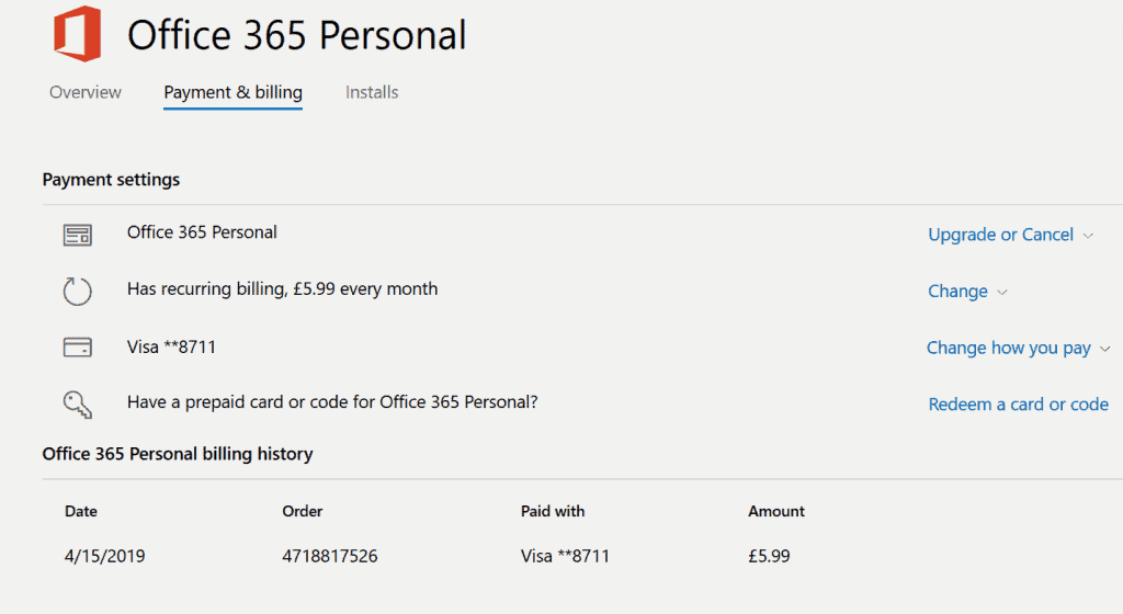 Outlook 365 account - payment and billing tab