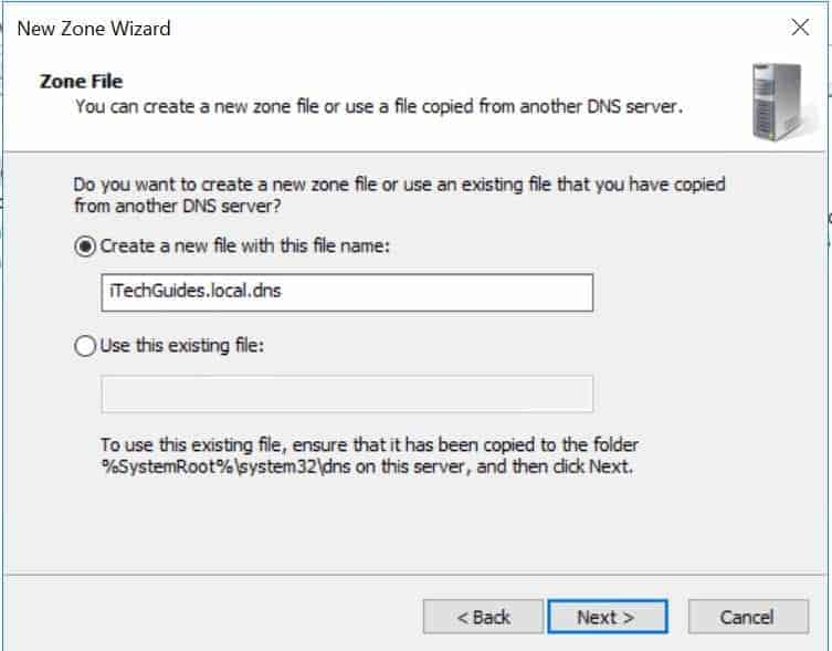 Configure DNS for AD DS - zone file name