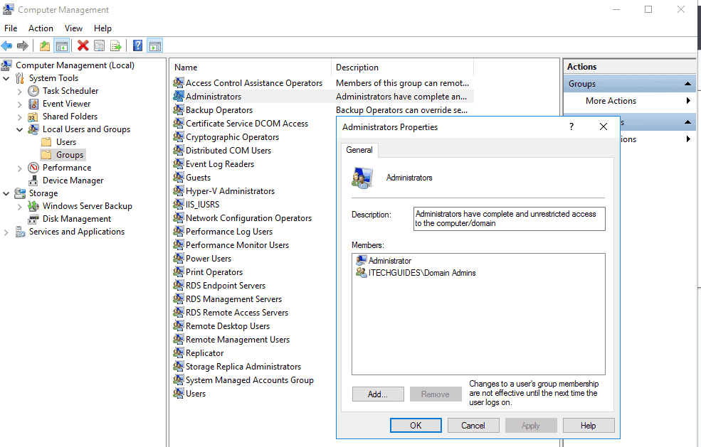 WSUS (Windows Server Update Service) - Add the Domain Admin account as member of the Local Administrators group on the server you wish to install WSUS role