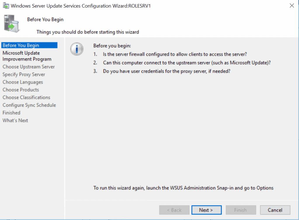 WSUS (Windows Server Update Service) - configuration