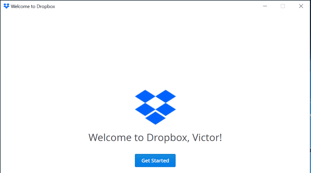 Dropbox login successfully installed on Windows 10!
