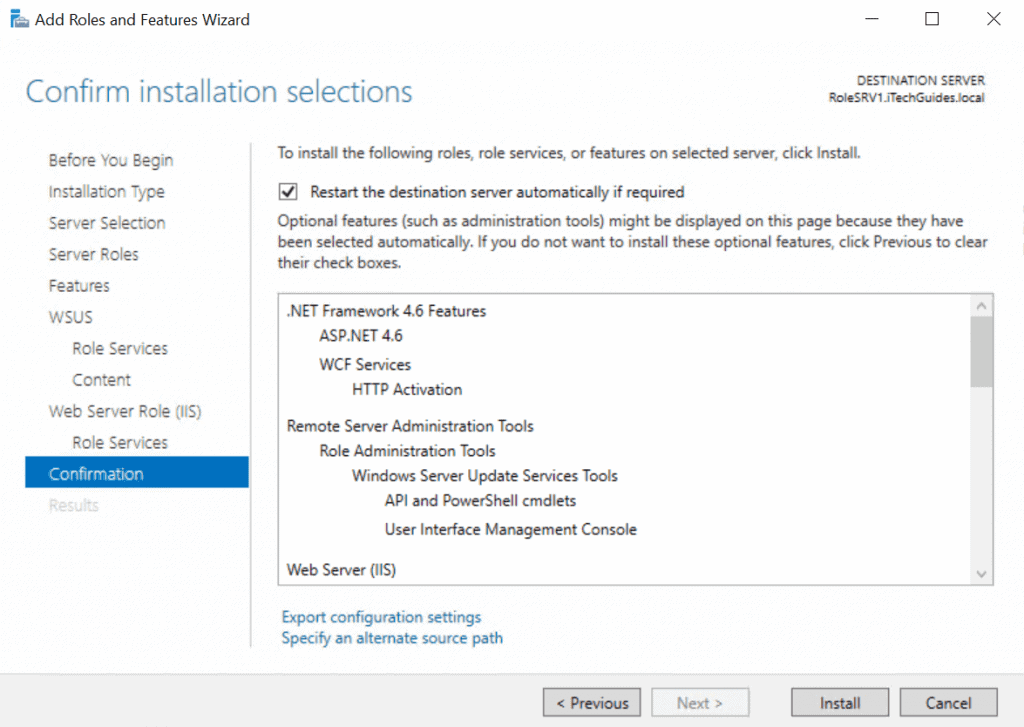 WSUS (Windows Server Update Service) - roles installation confirmation page
