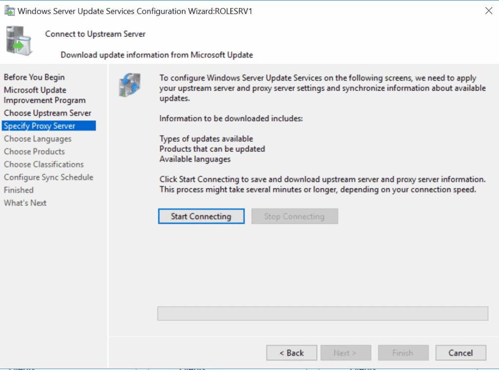 WSUS (Windows Server Update Service) - connect to Microsoft Update server