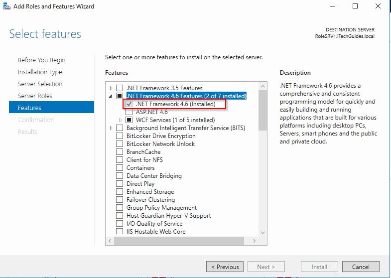 WSUS pre-installation tasks - Confirm that Microsoft .NET Framework 4.5 is installed