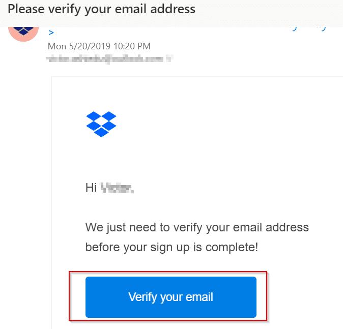 Dropbox login - verify email