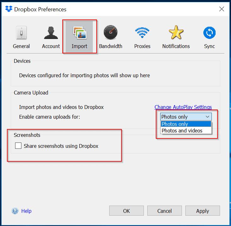 Dropbox login - Import Photos to Dropbox