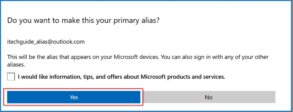 Hotmail Email (Now Outlook.com Email) - change primary email to alias