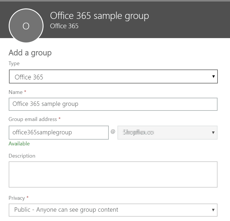 portal office - add new group
