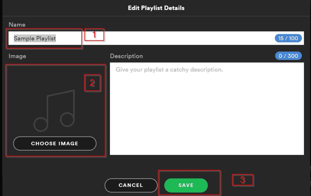 Spotify Web Player - rename a playlist