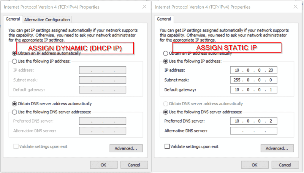 windows 10 share internet connection dhcp