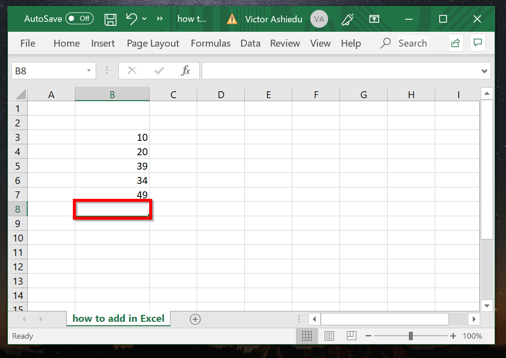 How to add in Excel with AutoSum