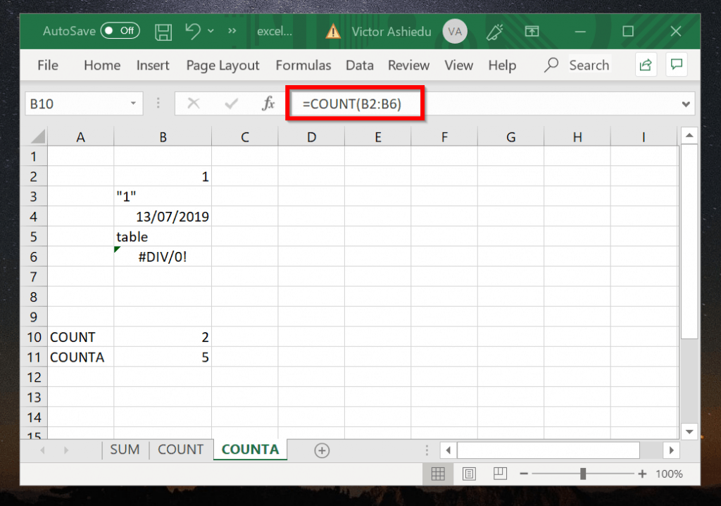 Excel Count Example 2 (COUNTA Function)