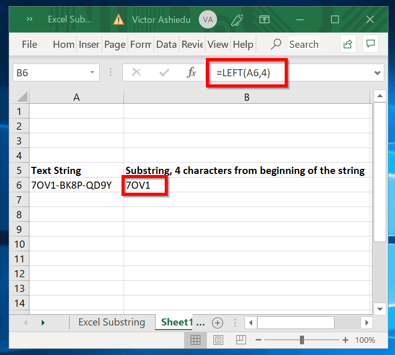 Excel Substring LEFT Example