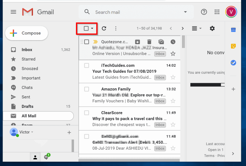 gmail mark all as read - click All Mails