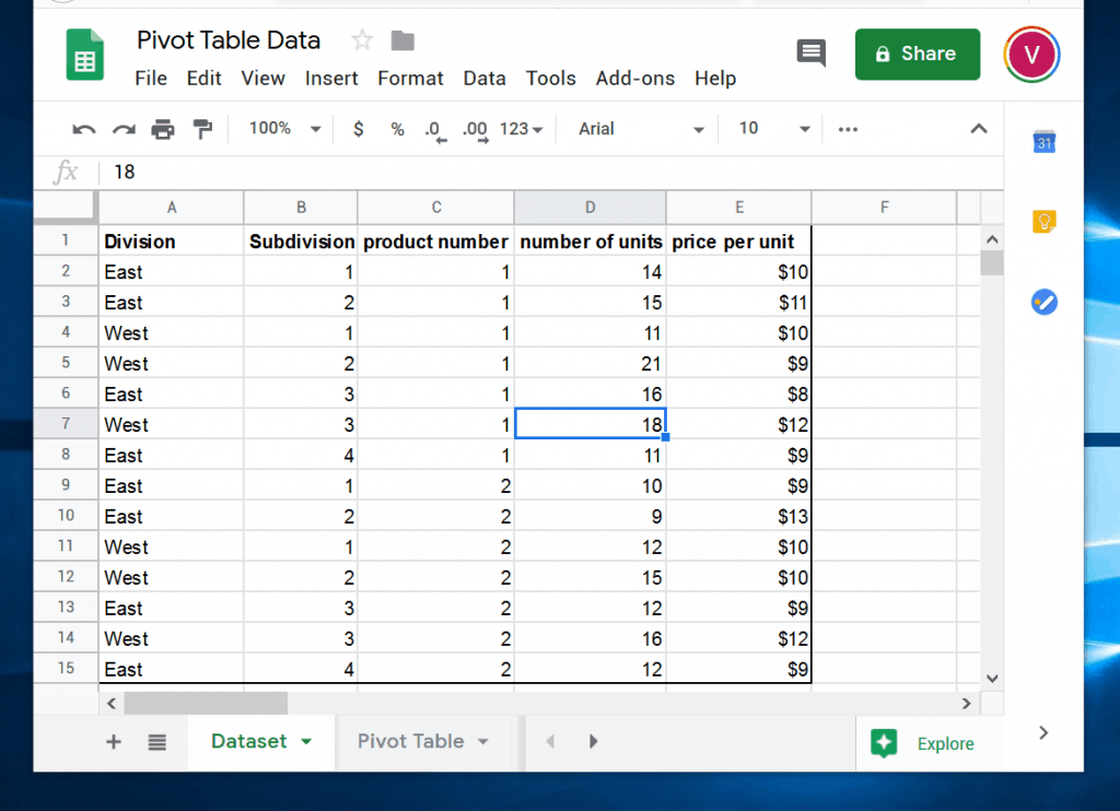 How to Make a Pivot Table in Google Sheets - raw data
