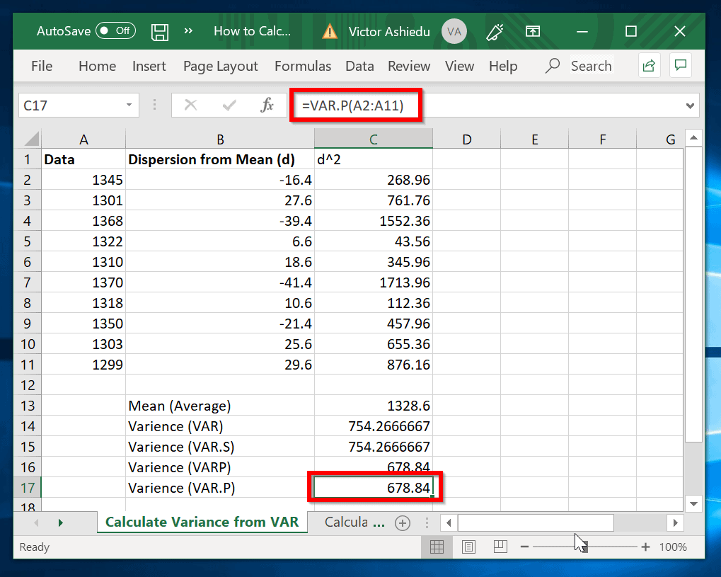 How to Calculate Variance in Excel with VAR.P function