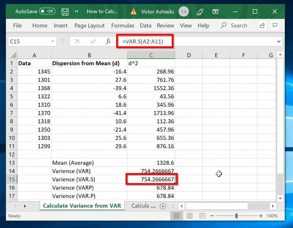 How to Calculate sample Variance in Excel with VAR.S function