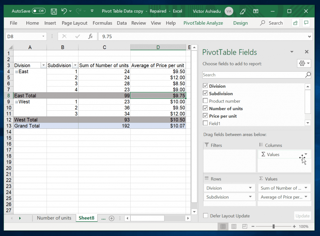 How to Customize a Pivot Table in Excel - finished Pivot Table sample