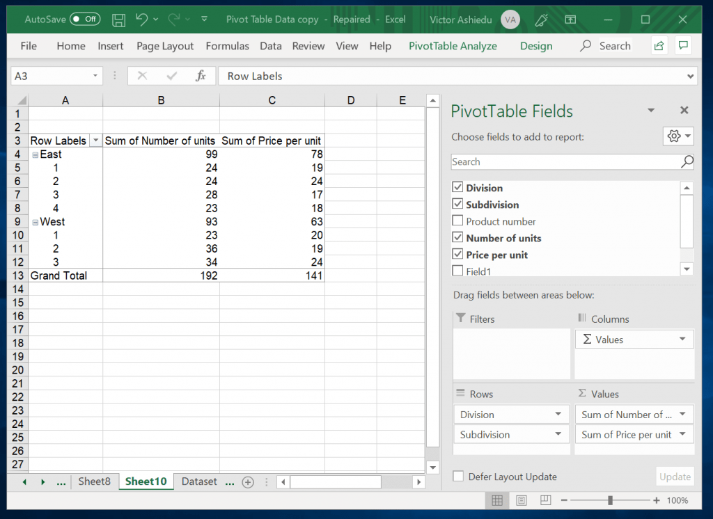 How to Customize a Pivot Table in Excel - drag column headers to Values box