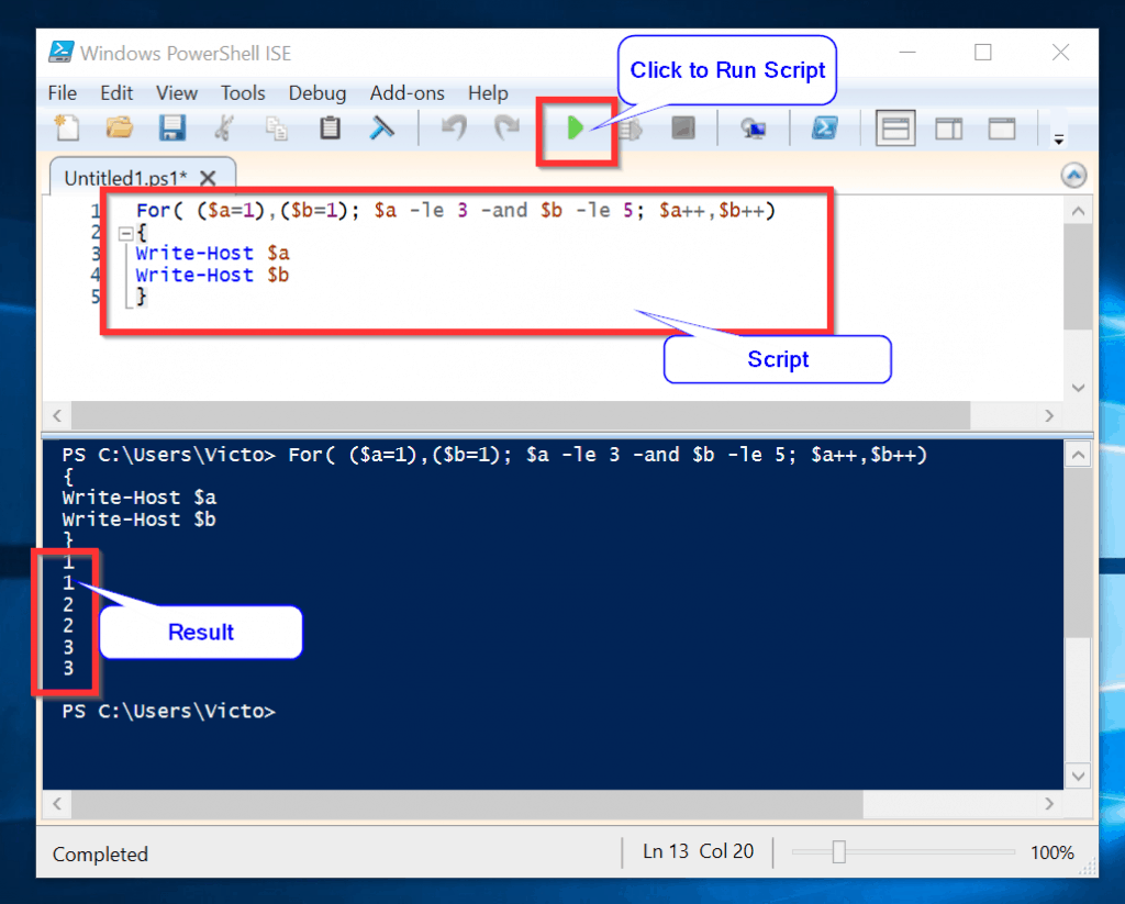 Powershell For Loop Example 2: Multiple Operations