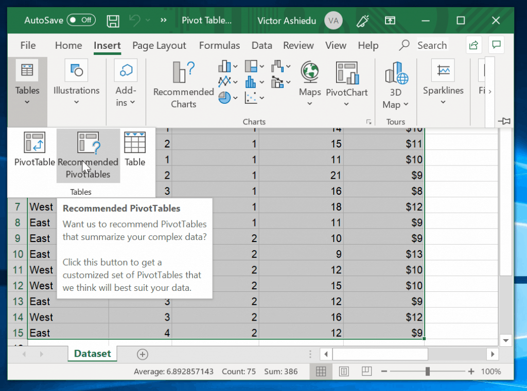 How to Make a Pivot Table With Excel Recommended PivotTables  - click Insert tab. Then select Recommended PivotTables