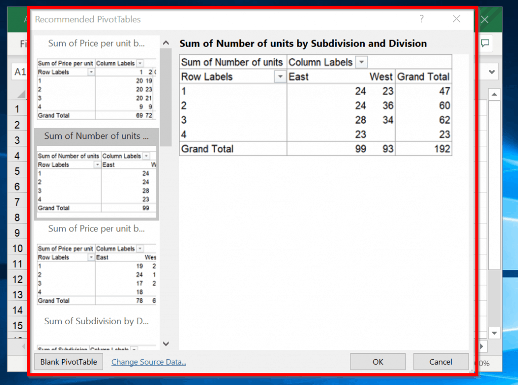How to Make a Pivot Table With Excel Recommended PivotTables - select a Recommended PivotTable