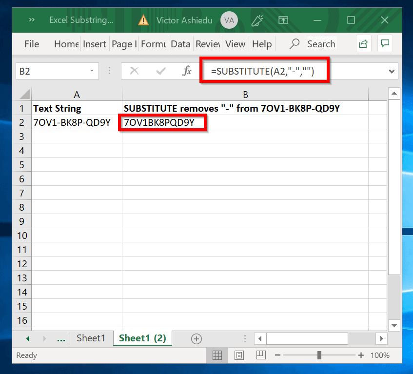 Count How Many Times Substring Appears in Excel - SUBSTITUTE removes all of the characters being counted in the source text