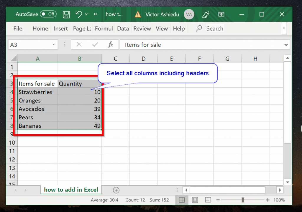 Use Excel Table to Add Only Filtered Values
