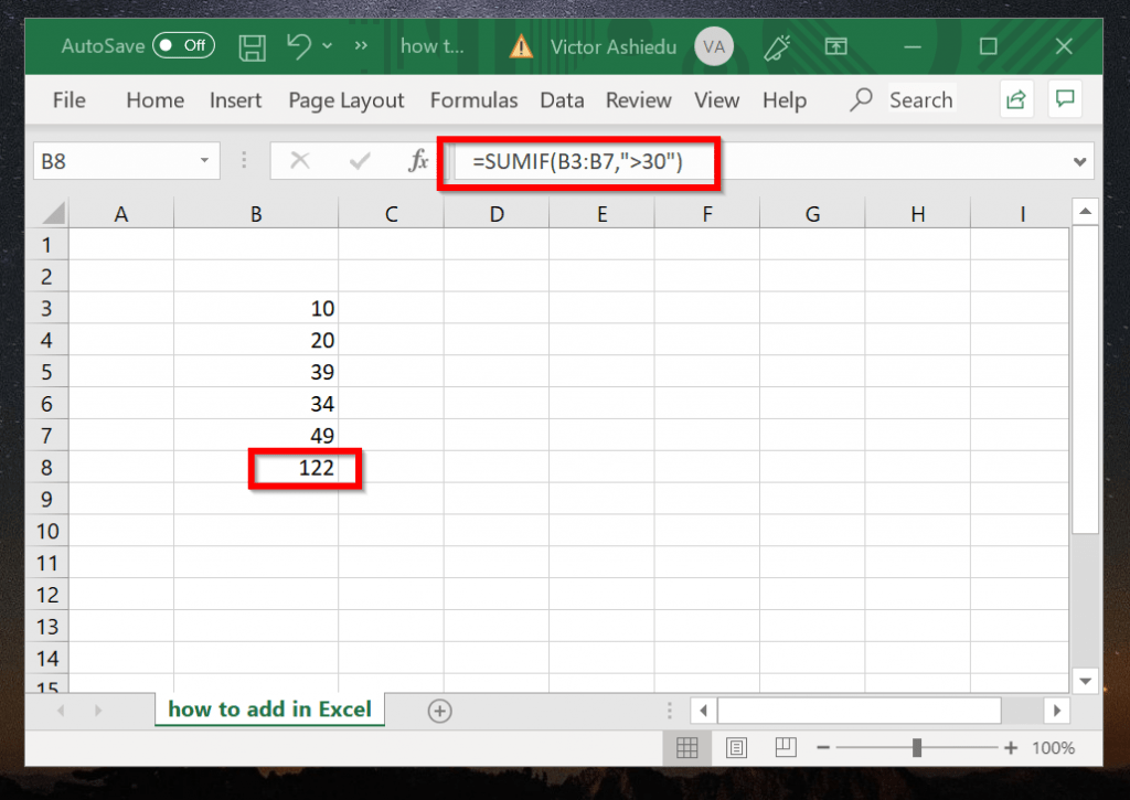 How to Add in Excel with Criteria (SUMIF example)