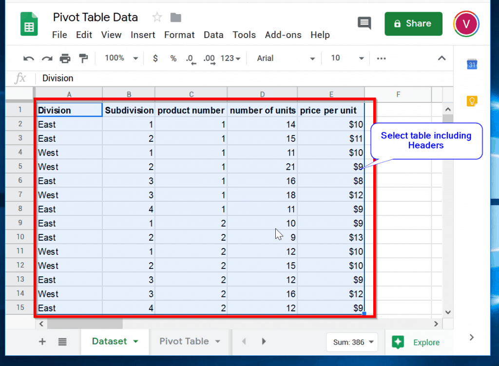 How to Make a Pivot Table in Google Sheets - select the data including column headers