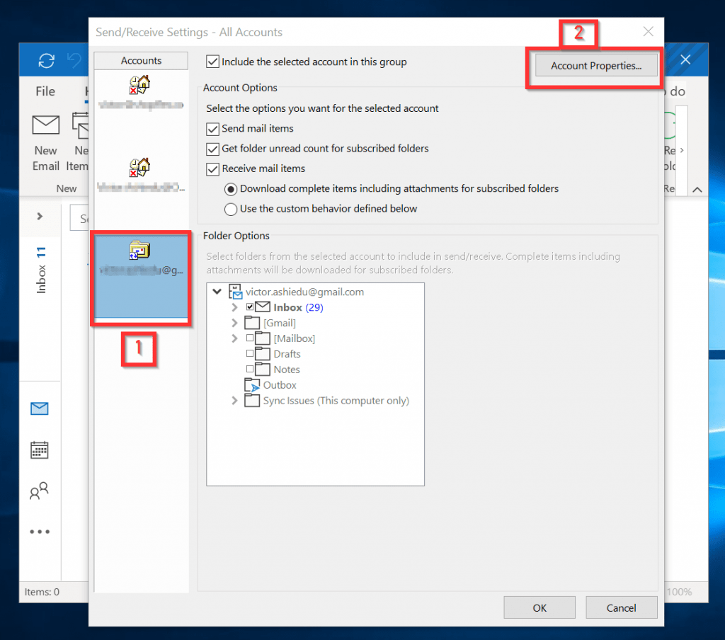 Change outlook password - Send/Receive Settings