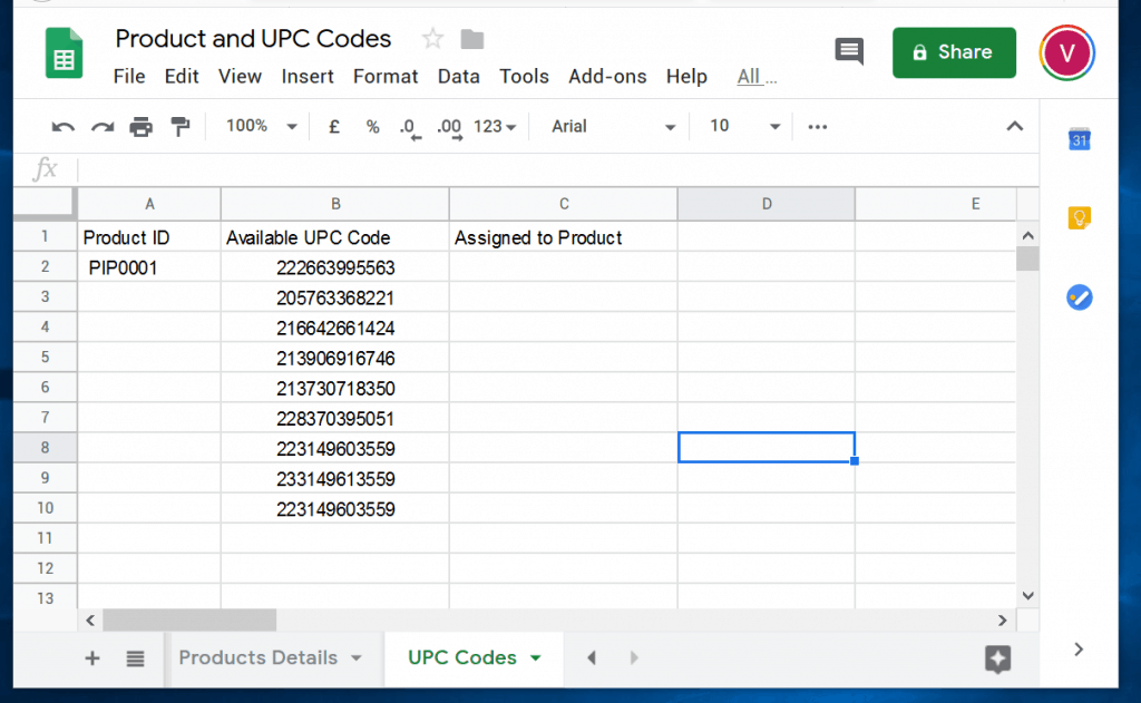 VLOOKUP in Google Sheets Examples - UPC codes Google Sheets