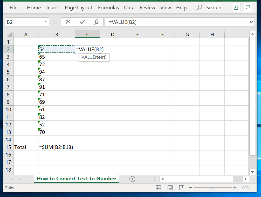 Method 3: Convert Text to Number in Excel Using Formula Method