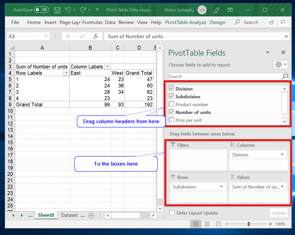 Add data to blank Pivot Table in Excel